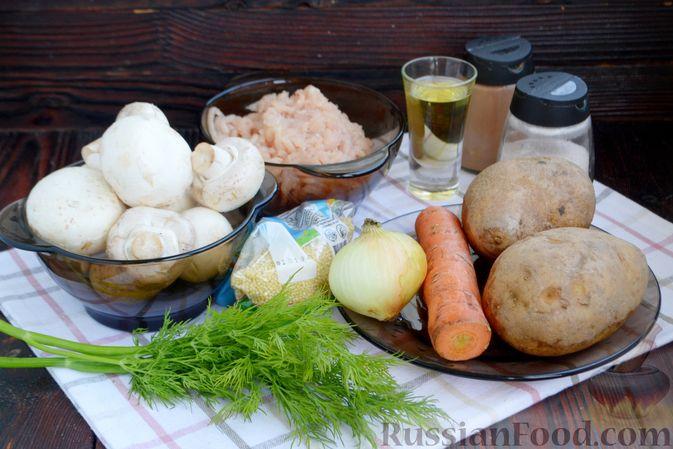 Фото приготовления рецепта: Суп с куриными фрикадельками, шампиньонами и пшеном - шаг №1