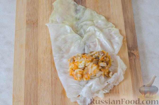 Фото приготовления рецепта: Голубцы с рисом и чечевицей, запечённые в томатном соусе - шаг №12