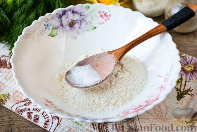 Фото приготовления рецепта: Оладьи на кефире, с припёком из кабачков - шаг №2