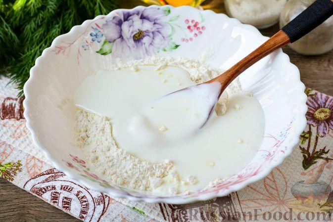 Фото приготовления рецепта: Оладьи на кефире, с припёком из кабачков - шаг №3