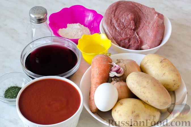 Фото приготовления рецепта: Рагу из говядины в томатном соусе, с картофельными ньокками - шаг №1