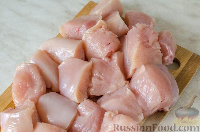 Фото приготовления рецепта: Шашлык из курицы с грибами и овощами (в духовке) - шаг №2