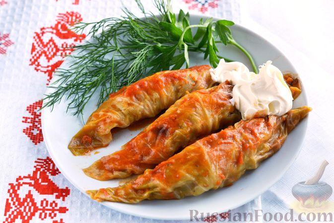 Фото к рецепту: Голубцы со свиниными отбивными и грибами, без риса (в духовке)