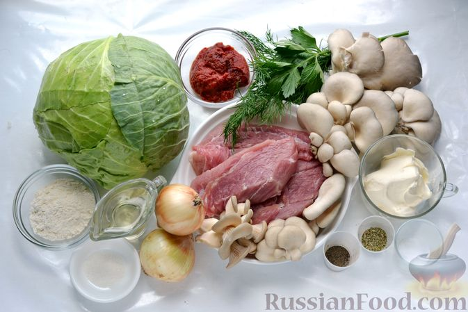 Фото приготовления рецепта: Голубцы со свиниными отбивными и грибами, без риса (в духовке) - шаг №1