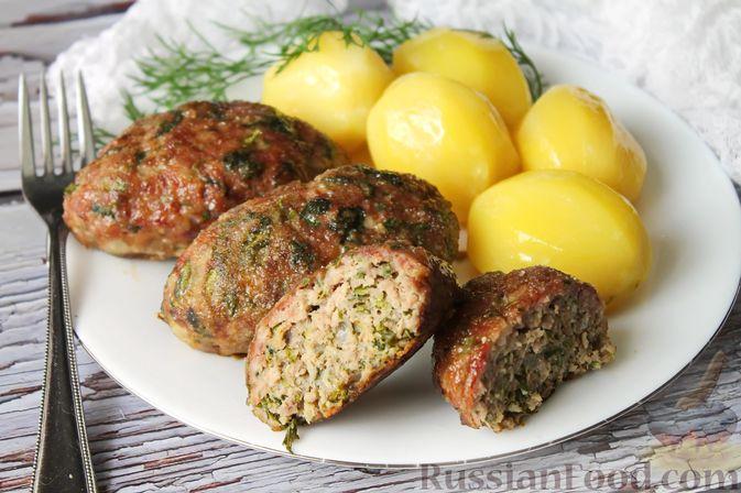 Фото к рецепту: Мясные котлеты со шпинатом (в духовке)