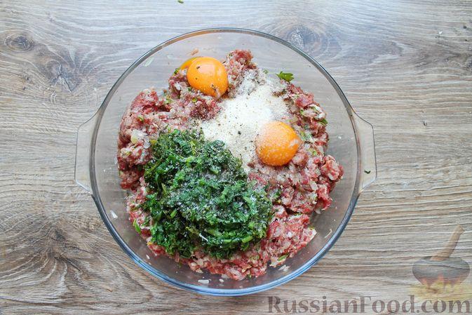 Фото приготовления рецепта: Мясные котлеты со шпинатом (в духовке) - шаг №10