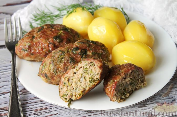 Фото приготовления рецепта: Мясные котлеты со шпинатом (в духовке) - шаг №17