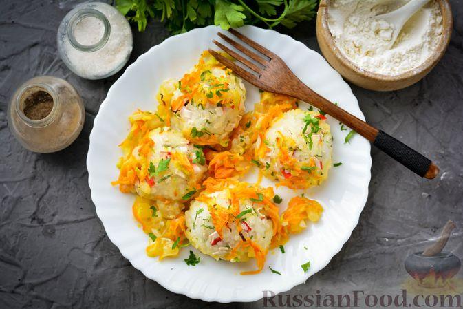 Фото приготовления рецепта: Тефтели из риса и крабовых палочек, запечённые в овощном соусе - шаг №15