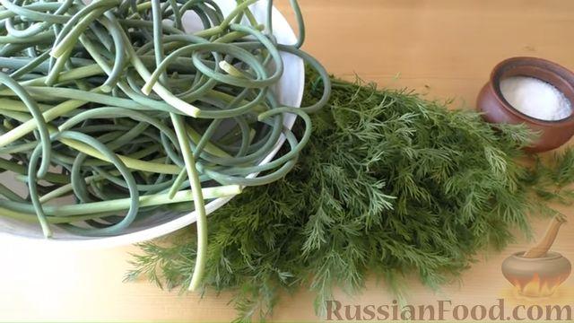 Фото приготовления рецепта: Заготовка из чесночных стрелок и укропа (для заморозки) - шаг №1