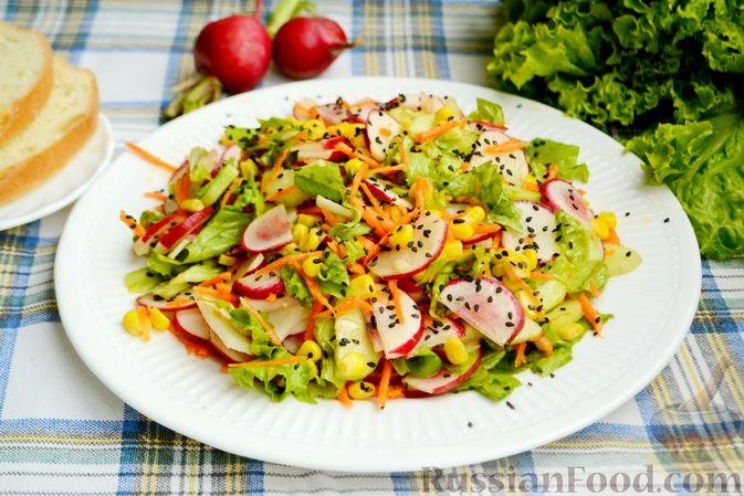 Фото к рецепту: Салат с редиской, огурцом, морковью и кукурузой