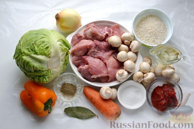 Фото приготовления рецепта: Капуста, тушенная с мясом, рисом и грибами - шаг №1