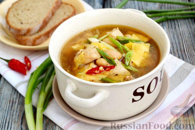 Фото к рецепту: Пряный суп с куриным филе и консервированной фасолью