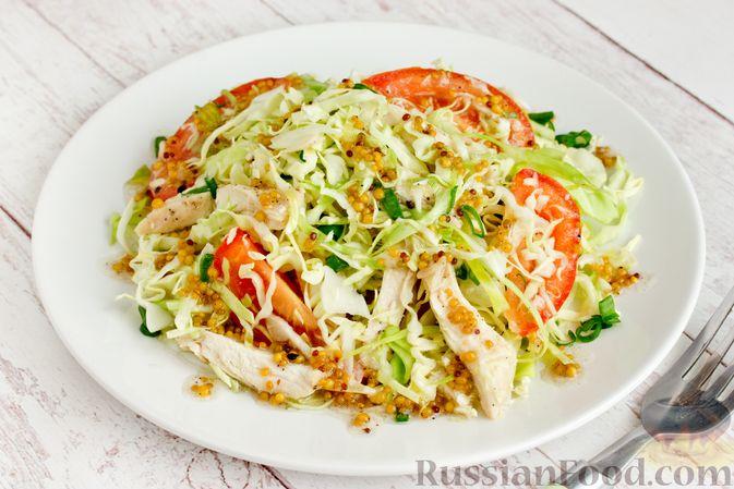 Фото приготовления рецепта: Салат из молодой капусты с курицей, помидорами и горчичной заправкой - шаг №15