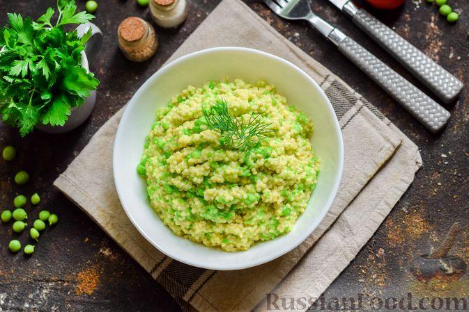 Фото приготовления рецепта: Пшённая каша с зелёным горошком и сливками - шаг №10