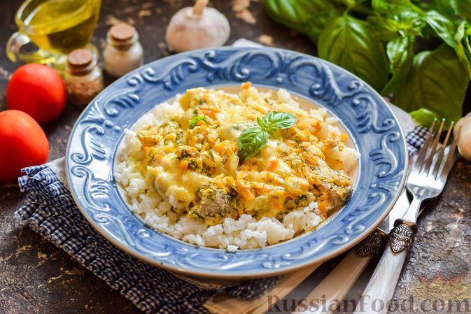Фото приготовления рецепта: Картофельная запеканка с мясным фаршем, грибами и сыром - шаг №13