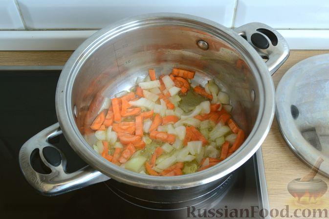 Фото приготовления рецепта: Крем-суп из кабачка, зеленого горошка и стручковой фасоли - шаг №5