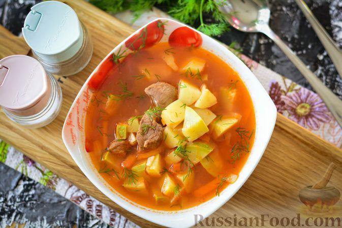 Фото приготовления рецепта: Суп из говядины с кабачками - шаг №14