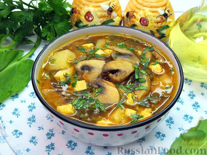 Фото к рецепту: Куриный суп со щавелем и шампиньонами