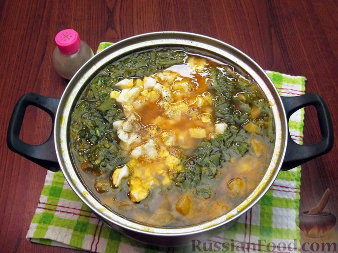Фото приготовления рецепта: Куриный суп со щавелем и шампиньонами - шаг №18