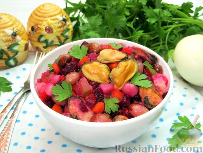 Фото приготовления рецепта: Винегрет с мидиями - шаг №15