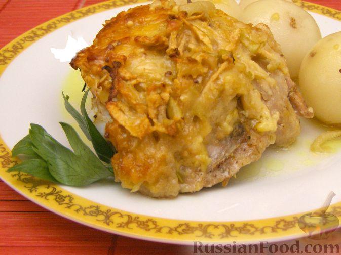 """Рецепт Курица в сырно-яблочной """"шубке"""""""