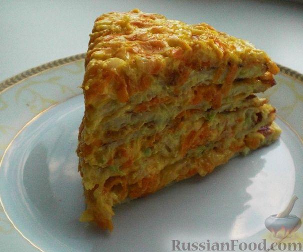 Рецепт Торт кабачковый с сырно-овощной начинкой