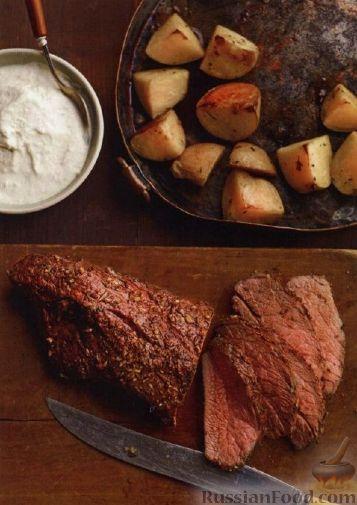 Рецепт Говяжье филе, запеченное с картофелем в духовке