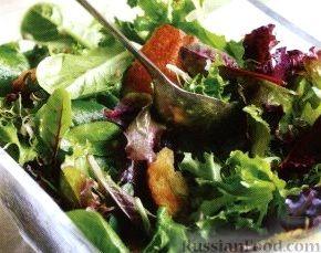 Рецепт Зеленый салат с жареными ломтиками хлеба
