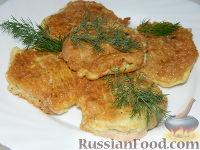 """Фото к рецепту: Мясные котлеты с сыром в вафельной """"шубе"""""""