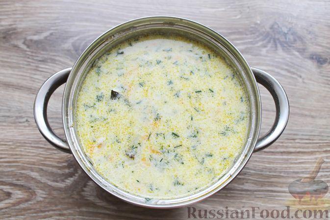 Фото приготовления рецепта: Суп с куриными крылышками, свежими огурцами и сметаной - шаг №19