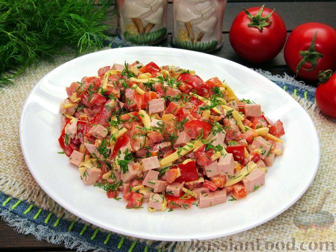 Фото к рецепту: Салат с колбасой, помидорами, болгарским перцем и сыром