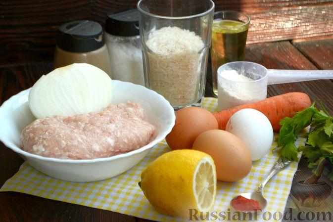 Фото приготовления рецепта: Суп с куриными фрикадельками и яично-лимонной заправкой - шаг №1