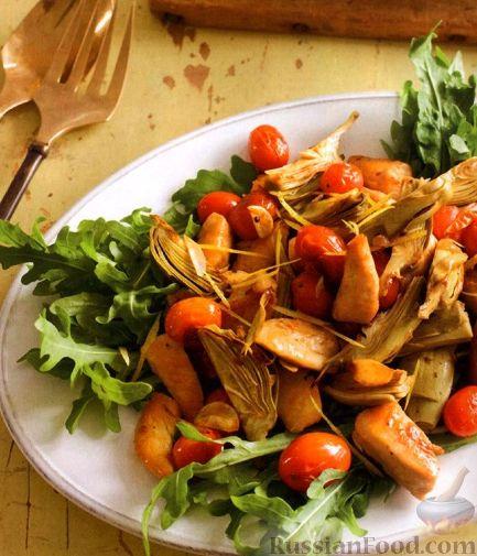 Рецепт Соте из артишоков и помидоров с куриным филе