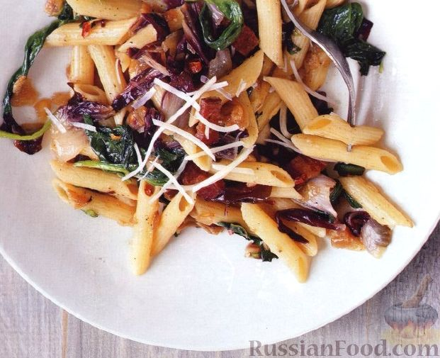 Рецепт Паста (макароны) с радиччио и шпинатом