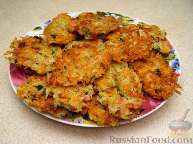 Рецепт Картофельные оладьи с сыром и ветчиной