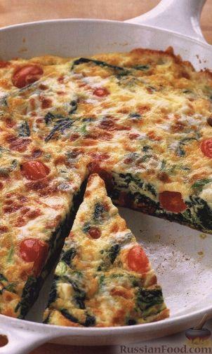 Рецепт Фриттата со шпинатом и помидорами