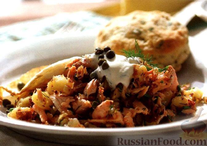 Рецепт Жареный картофель с лососем в горчично-сметанном соусе