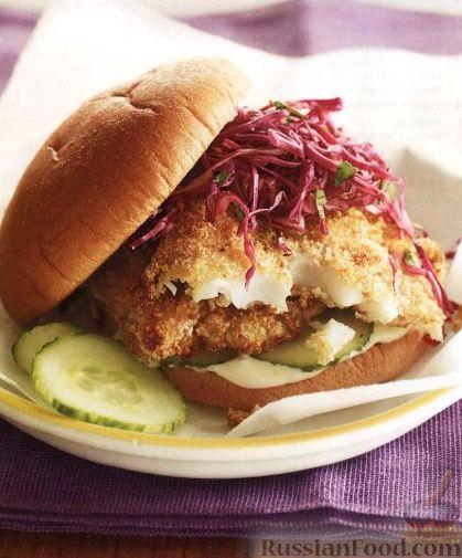 Рецепт Бургеры с камбалой и капустным салатом