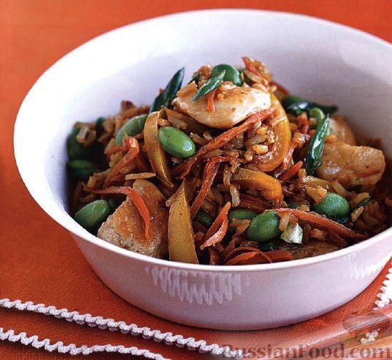 Рецепт Коричневый рис с куриным филе и фасолью