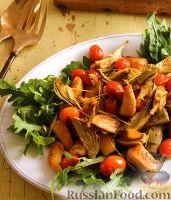 Фото к рецепту: Соте из артишоков и помидоров с куриным филе