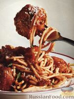 Фото к рецепту: Спагетти с тефтелями