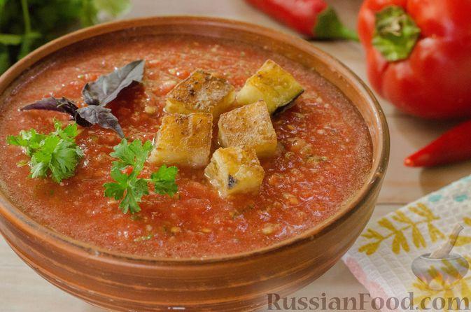 Фото к рецепту: Холодный томатный суп с обжаренными баклажанами