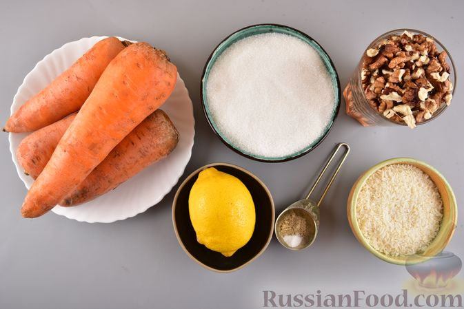 Фото приготовления рецепта: Рулет из моркови, с грецкими орехами и кокосовой стружкой - шаг №1