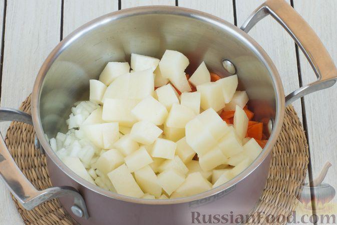Фото приготовления рецепта: Суп с морской капустой и помидорами - шаг №3