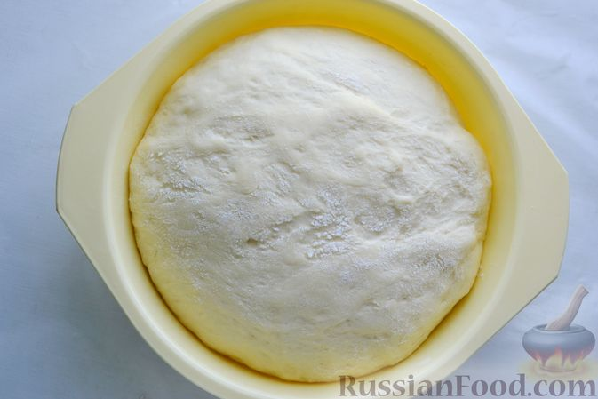 Фото приготовления рецепта: Дрожжевой пирог с малосольными огурцами и варёными яйцами - шаг №14