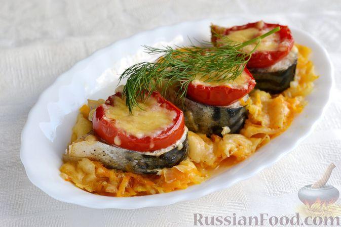 Фото приготовления рецепта: Скумбрия, запечённая с помидорами, морковью и сыром - шаг №14