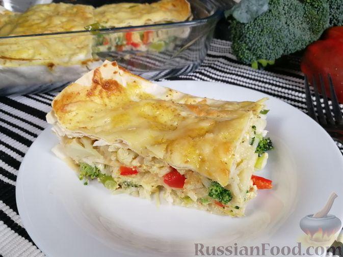 Фото приготовления рецепта: Запеканка из лаваша с рисом, цветной капустой, брокколи и сладким перцем - шаг №21
