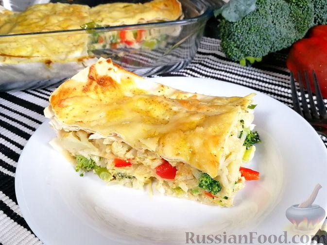 Фото к рецепту: Запеканка из лаваша с рисом, цветной капустой, брокколи и сладким перцем