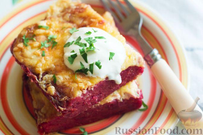 Фото приготовления рецепта: Закусочный свекольный манник с сыром - шаг №15
