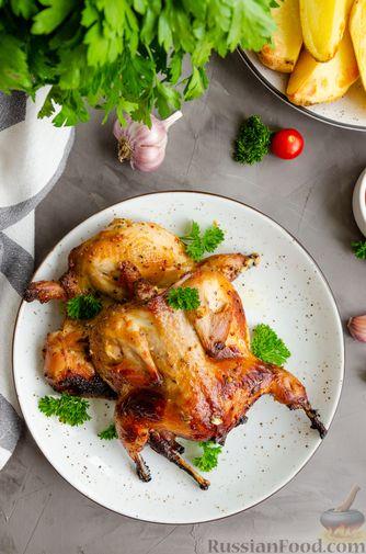 Фото приготовления рецепта: Запечённые перепела в медово-горчичном маринаде с чесноком - шаг №10